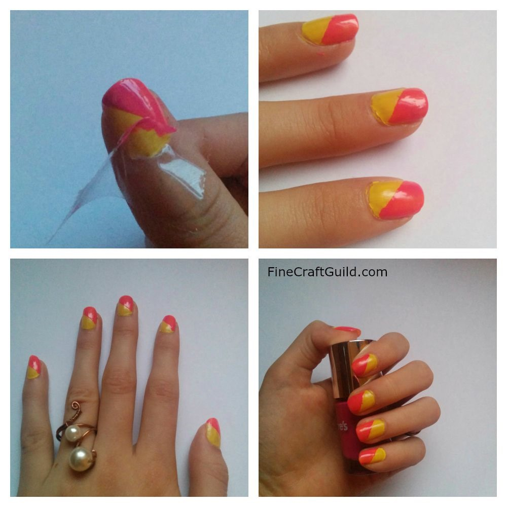 How to: Easy Diagonal Mani Design, by FineCraftGuild.com