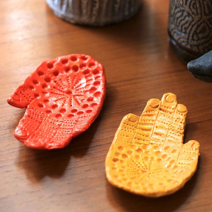 Kids craft ceramic hand dish