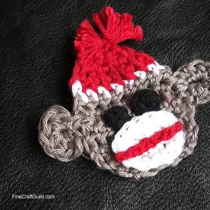 adorable crochet pattern sock monkey appliqué
