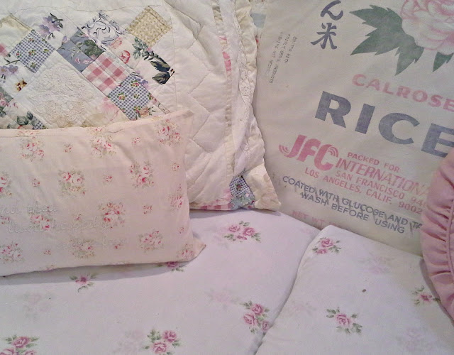 Romantic pillows for ruffle sofa slipcover DIY fr pennystreasures featured at FineCraftGuild.com
