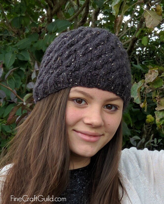 textured cable beanie knitting pattern by Rose, FineCraftGuild.com