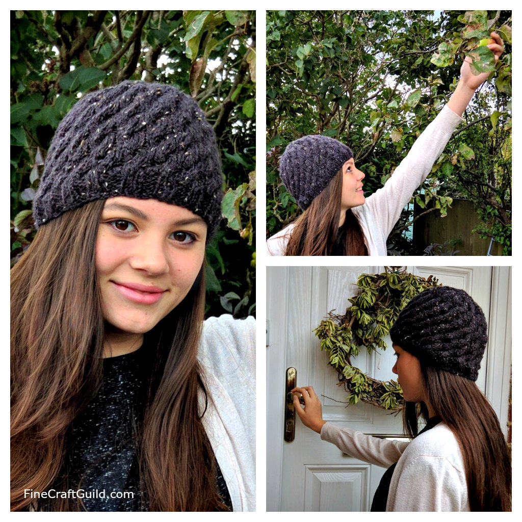 Textured Cable Beanie Hat Knitting Pattern – Easy