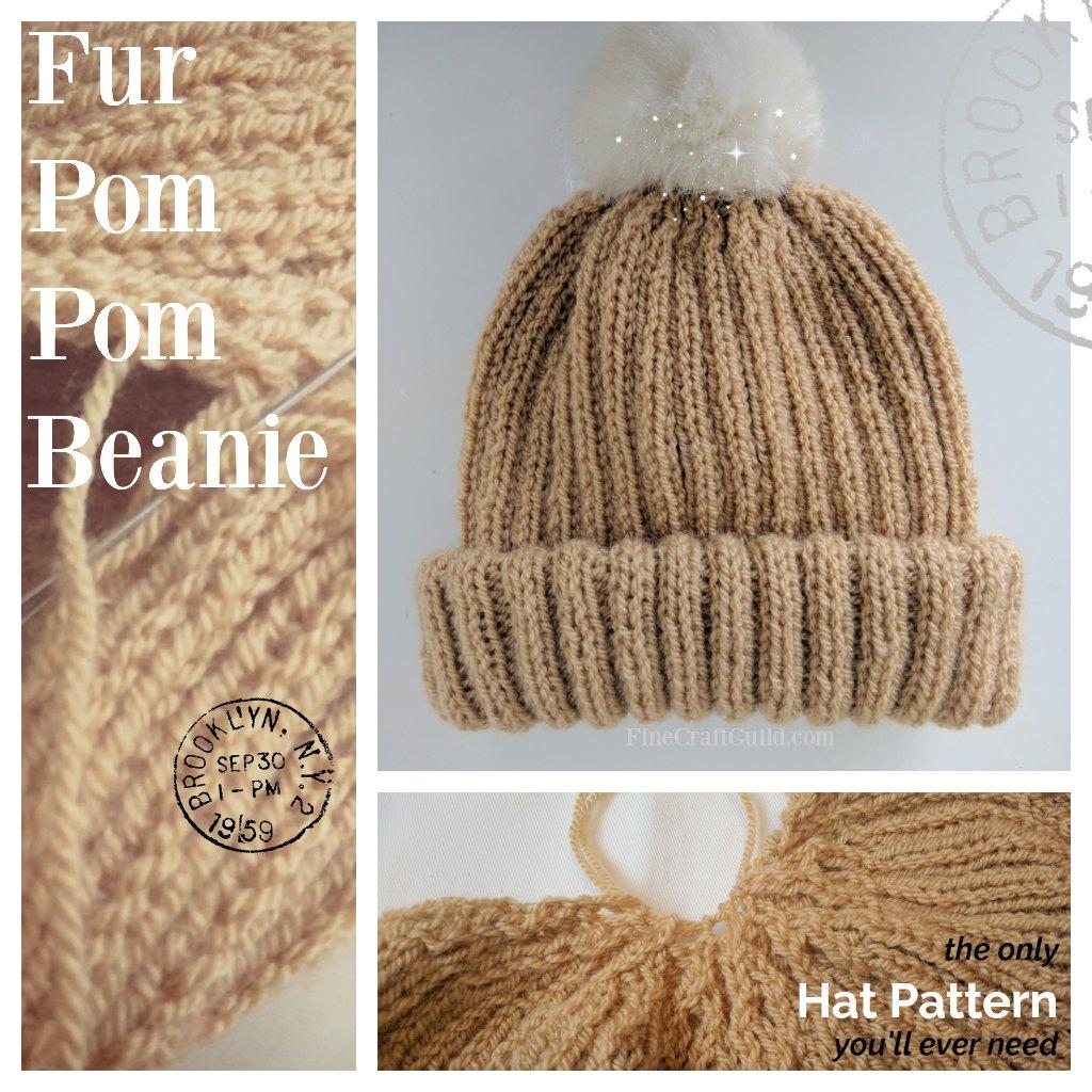 Fur Pompom Beanie Hat Knitting Pattern