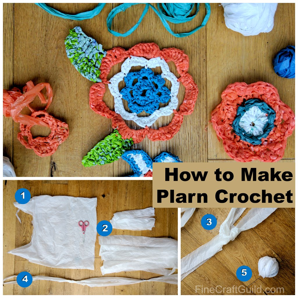 how to make plarn crochet mats for the homeless and crochet flowers