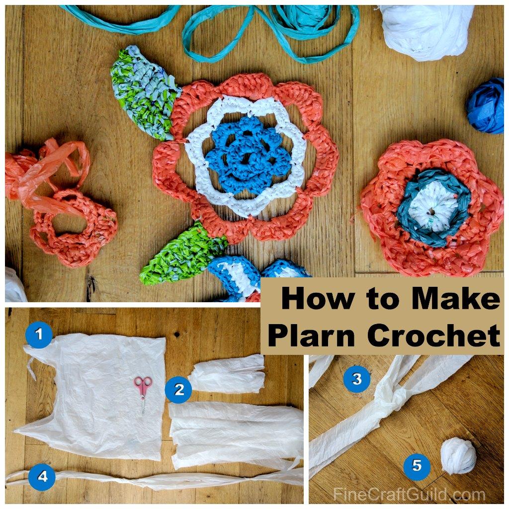 how to make plarn crochet mats for the homeless and crochet flowers