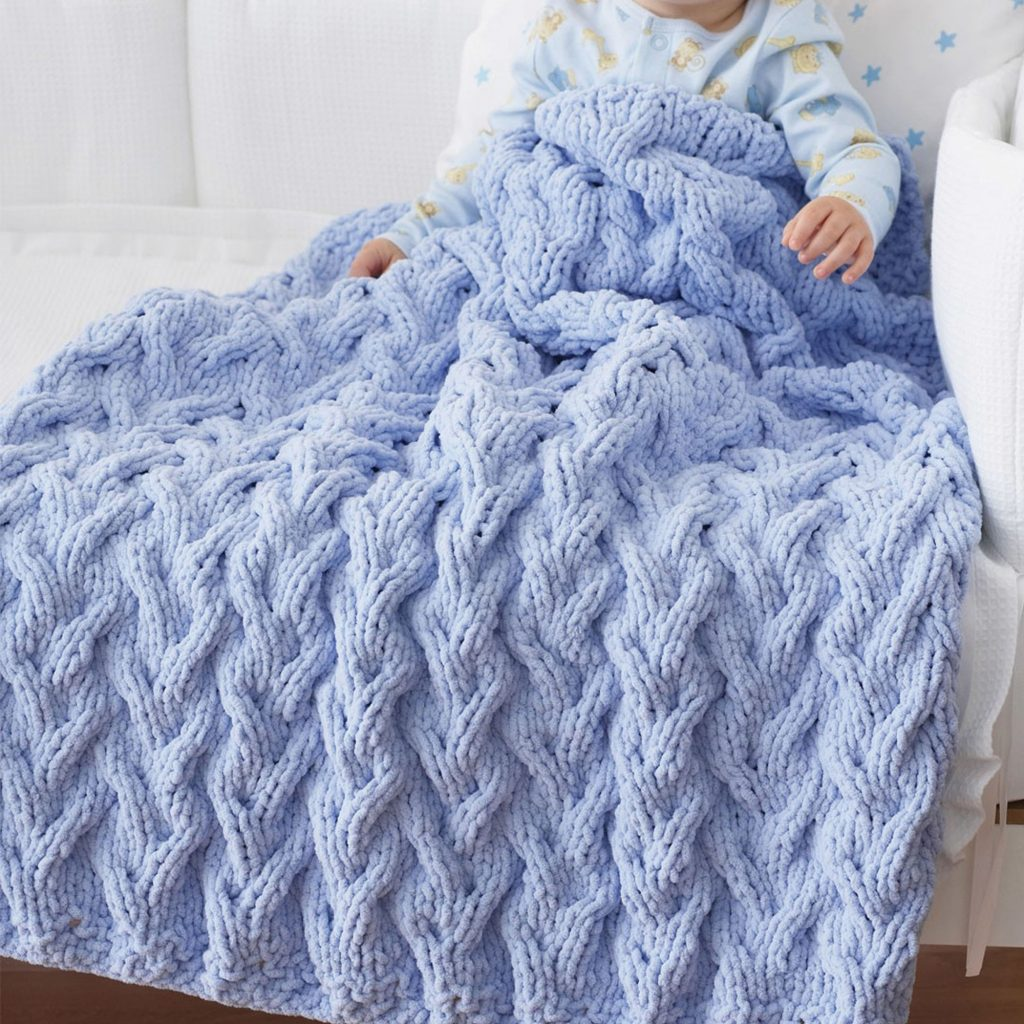 Cable baby blanket knitting pattern