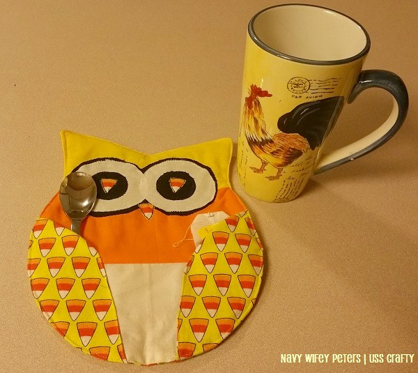DIY candy corn owl mug rugs