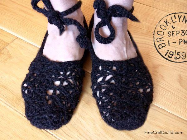 lace up ballerina slippers crochet pattern