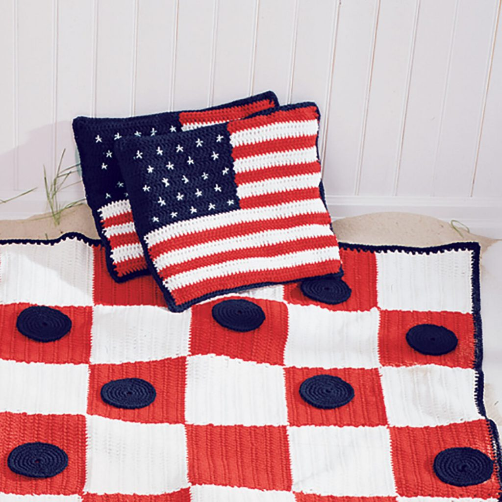 Your American Flag Crochet Pillow Pattern, from Sugar'n Cream