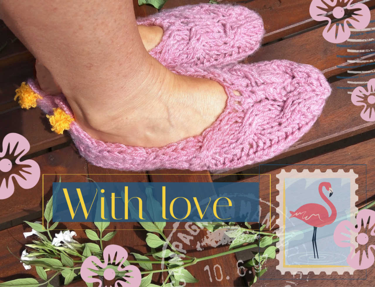 House Slippers Knitting Pattern with Pompoms