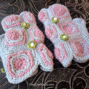 Bohochic Granny Squares Fingerless Mittens Crochet Pattern